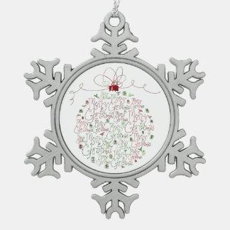 Ornamento del ornamento del navidad adorno de peltre en forma de copo de nieve