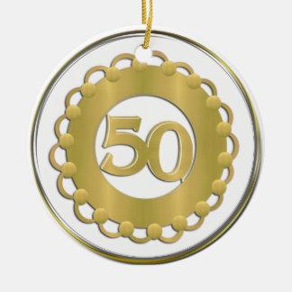 Ornamento del oro 50.o adorno navideño redondo de cerámica