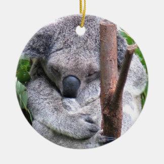 Ornamento del oso de koala adorno navideño redondo de cerámica