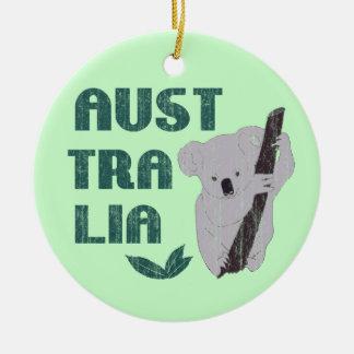 Ornamento del oso de koala de Australia Adorno Navideño Redondo De Cerámica