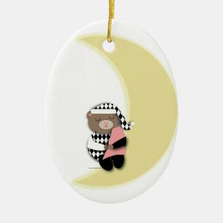 Ornamento del oso el dormir adorno navideño ovalado de cerámica