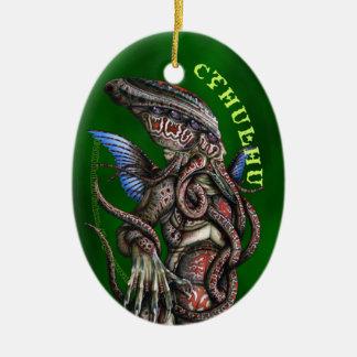 Ornamento del óvalo de Cthulhu Adorno Navideño Ovalado De Cerámica