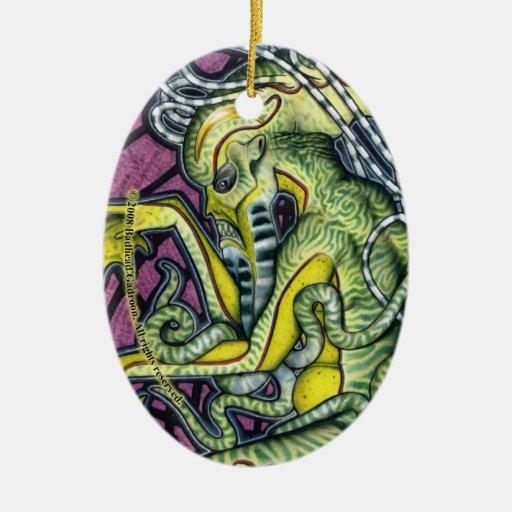 Ornamento del óvalo de Cthulhu del pavor Adorno Navideño Ovalado De Cerámica