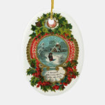 Ornamento del óvalo de la escena del navidad del v adornos de navidad