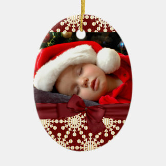 ornamento del óvalo de la foto adorno navideño ovalado de cerámica