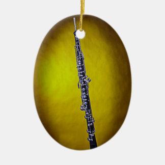Ornamento del óvalo de la imagen de Oboe Adorno Navideño Ovalado De Cerámica