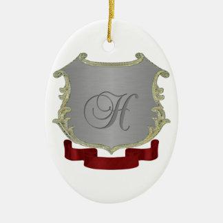Ornamento del óvalo de la letra H del monograma Adorno Navideño Ovalado De Cerámica
