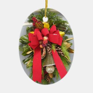 Ornamento del óvalo de la puerta del navidad adorno navideño ovalado de cerámica