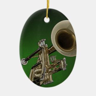 Ornamento del óvalo de la trompeta o del cucurucho adorno navideño ovalado de cerámica
