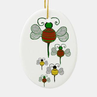 Ornamento del óvalo de las abejas de Yule Adornos