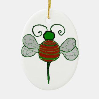 Ornamento del óvalo de las abejas de Yule Adorno Ovalado De Cerámica