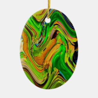 Ornamento del óvalo de las ondas verdes ornamento para arbol de navidad