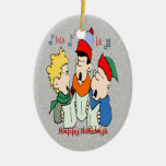 Ornamento del óvalo de los Carolers del navidad Ornamento Para Reyes Magos