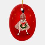 ornamento del óvalo del chica del navidad del ornamento para arbol de navidad