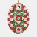 Ornamento del óvalo del mosaico del día de fiesta ornatos