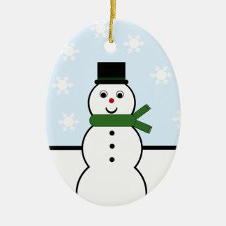 Ornamento del óvalo del muñeco de nieve del día de ornamentos de navidad