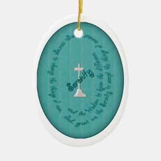 Ornamento del óvalo del rezo de la serenidad ornaments para arbol de navidad