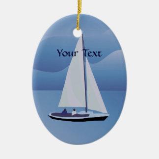 Ornamento del óvalo del velero de la navegación adorno navideño ovalado de cerámica