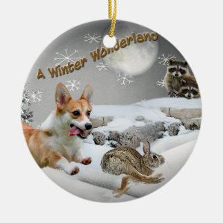 Ornamento del país de las maravillas del invierno adorno navideño redondo de cerámica