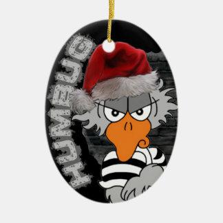 Ornamento del pájaro de la cárcel adorno navideño ovalado de cerámica