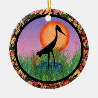 Ornamento del pájaro de la puesta del sol adorno de navidad