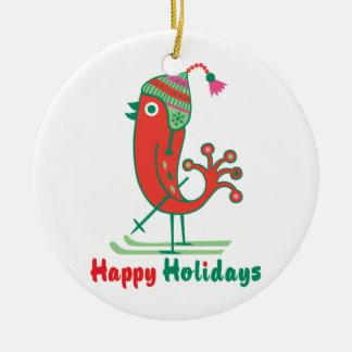 Ornamento del pájaro del esquí buenas fiestas - adorno navideño redondo de cerámica