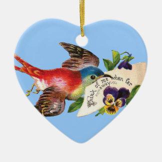 Ornamento del pájaro del mensajero adorno navideño de cerámica en forma de corazón