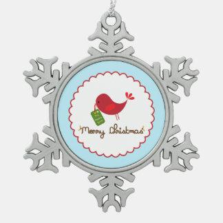 Ornamento del pájaro del navidad adorno de peltre en forma de copo de nieve