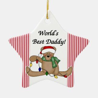 Ornamento del papá del mundo del oso de peluche el adorno navideño de cerámica en forma de estrella