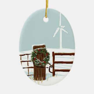 Ornamento del parque eólico del navidad adorno navideño ovalado de cerámica