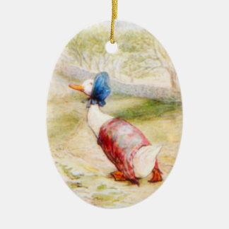 Ornamento del pato del charco de Jemima Adorno Navideño Ovalado De Cerámica