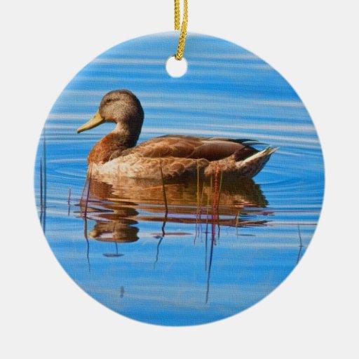 Ornamento del pato del pato silvestre adorno navideño redondo de cerámica
