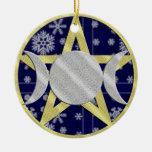 Ornamento del Pentagram del copo de nieve del Adorno Navideño Redondo De Cerámica