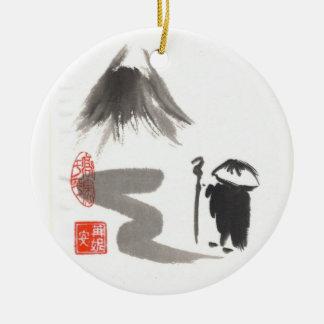 Ornamento del peregrino del zen adorno redondo de cerámica