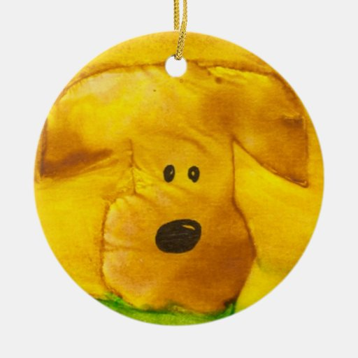 Ornamento del perrito adorno navideño redondo de cerámica