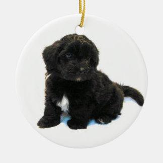 Ornamento del perrito de Havanese Adorno Navideño Redondo De Cerámica