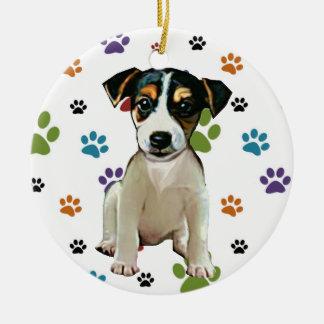 Ornamento del perrito de Jack Russell Adorno Navideño Redondo De Cerámica