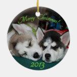 Ornamento del perrito del husky siberiano ornamento de navidad