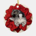Ornamento del perrito del Poinsettia del Keeshond Ornaments Para Arbol De Navidad