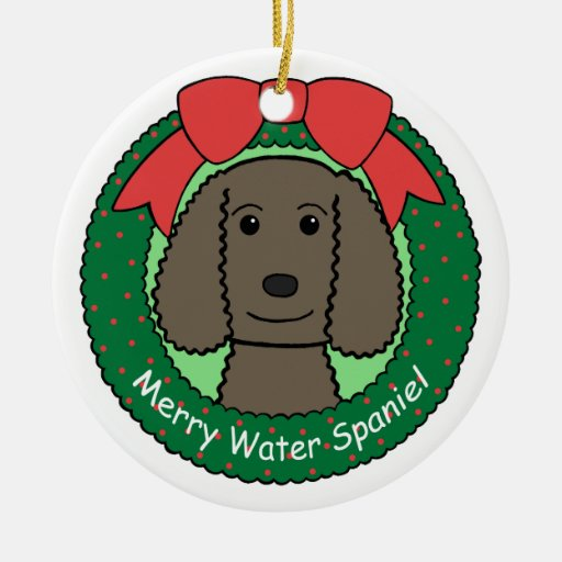 Ornamento del perro de aguas de agua americana adorno navideño redondo de cerámica