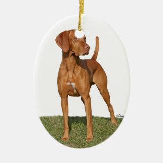 Ornamento del perro de caza de Viszla Adorno Ovalado De Cerámica