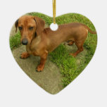 Ornamento del perro de Daschund Adorno Navideño De Cerámica En Forma De Corazón