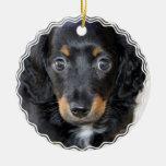Ornamento del perro de perrito de Daschund Adorno Navideño Redondo De Cerámica