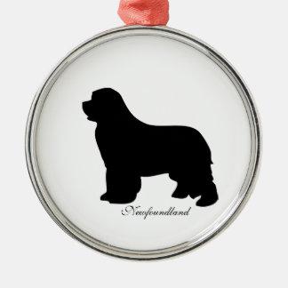 Ornamento del perro de Terranova, silueta negra, Adorno Redondo Plateado