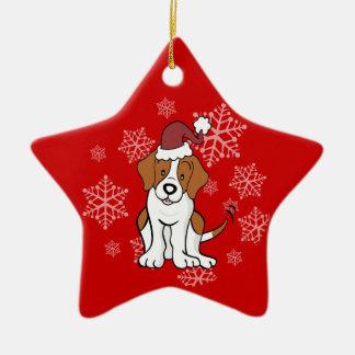 Ornamento del perro del beagle adorno navideño de cerámica en forma de estrella