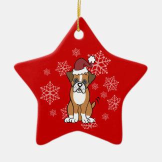 Ornamento del perro del boxeador adorno navideño de cerámica en forma de estrella