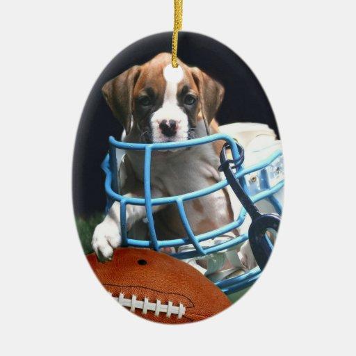 Ornamento del perro del boxeador del fútbol adorno ovalado de cerámica