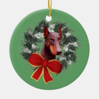 Ornamento del perro del día de fiesta de la adorno redondo de cerámica