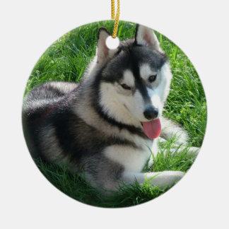 Ornamento del perro del husky siberiano adorno redondo de cerámica
