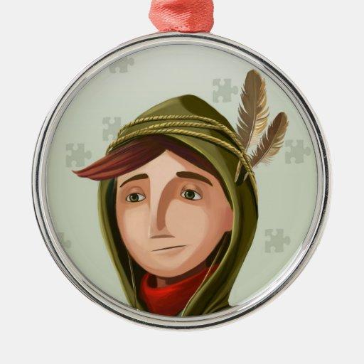 Ornamento del personaje de dibujos animados del adorno redondo plateado